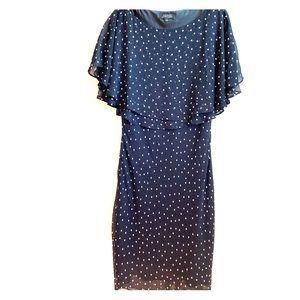 TAHARI Navy and White Polka-Dot Dress Size 8